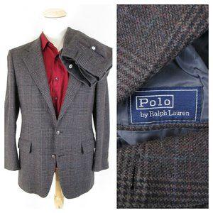 Polo Ralph Lauren Gray Glen Plaid Tweed Suit 38 40